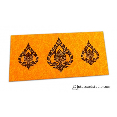 Front view of Amber Yellow Flower Flocked Shagun Envelope with Brown Damasks