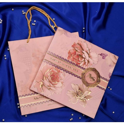 Bag Style Wedding Invitation in Blossom Pink and Golden Hot Foil Flowers