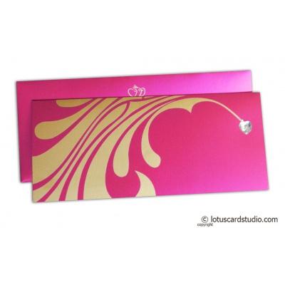 Stunning Barbie Pink Wedding Invitation with Heart Rhinestone - WC_165
