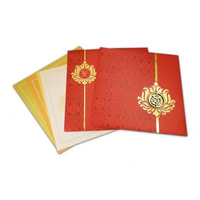 Red Golden Die Casting Ganesha Wedding Card