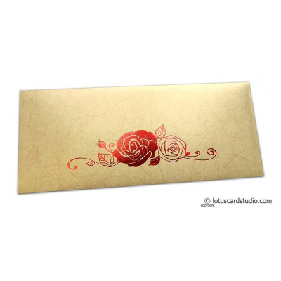 Front view of Perfumed Designer Money Envelopes in Beige with Foiled Rose