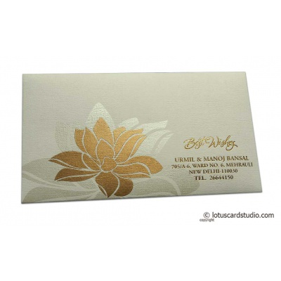Front view of Exclusive Sized Ivory Color Envelope with Golden Lotus