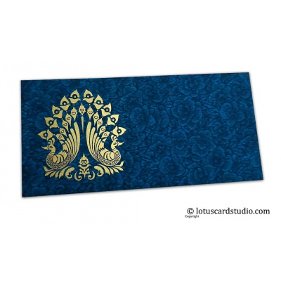 Front view of Blue Flower Flocked Shagun Envelope with Blue Peacocks