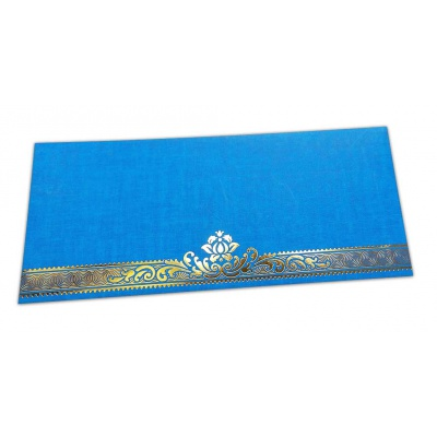 Front view of Blue Shagun Envelope with Golden Floral Border