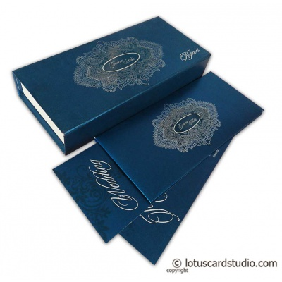 Blue Sweet Box Wedding Card with Silver Floral Design