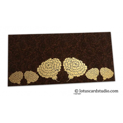 Front view of Brown Flower Flocked Money Envelope with Golden Dahlia Flowers