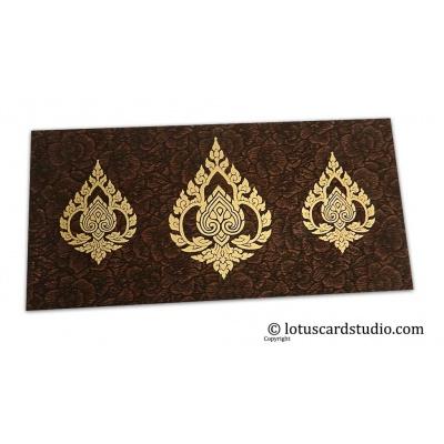 Front view of Brown Flower Flocked Shagun Envelope with Golden Damasks