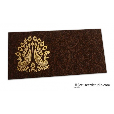 Front view of Brown Flower Flocked Shagun Envelope with Golden Peacocks