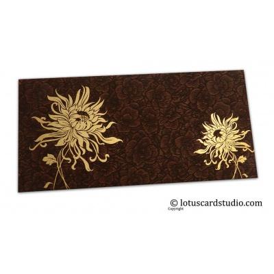 Front view of Brown Flower Flocked Shagun Envelope with Golden Spider Flower