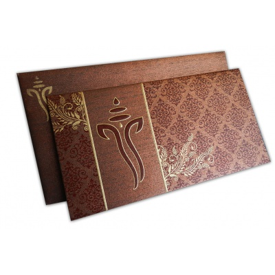 Brown Shimmer Indian Wedding Card with Ganesh - WC_130