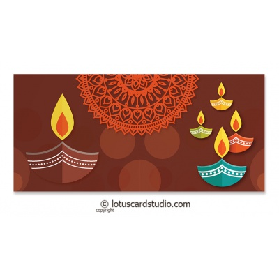 Front view of Colorful Diyas Brown Shagun Envelope