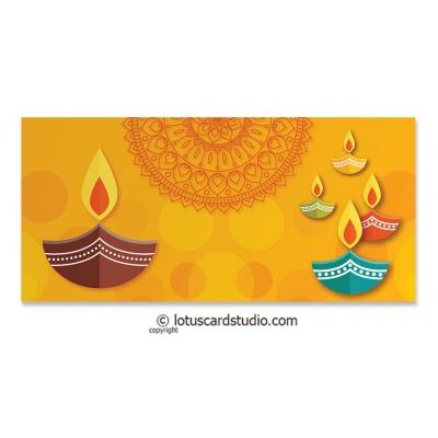 Front look of Colorful Diya Golden Shagun Envelope
