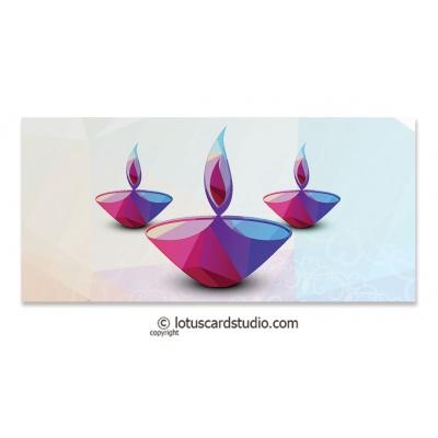 Front view of Crystal Diya Gift Envelope