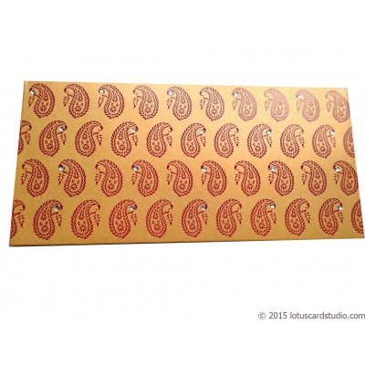 Front view of Paisley Theme Shagun Envelope in Rich Gold