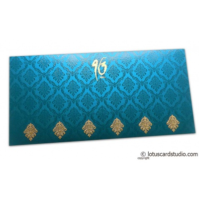 Front view of Damask Pattern Shagun Envelope in Imperial Blue
