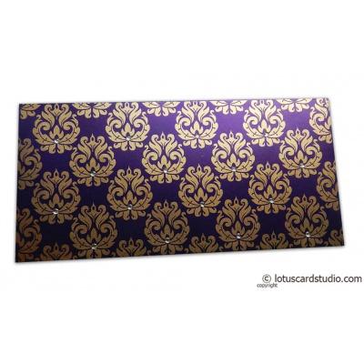 Front view of Designer Golden Floral Envelope in Super Indigo