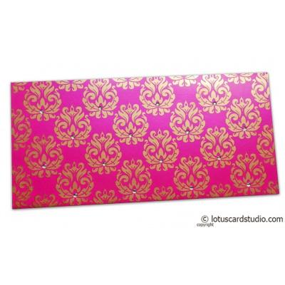 Front view of Designer Golden Floral Envelope in Mexican Pink