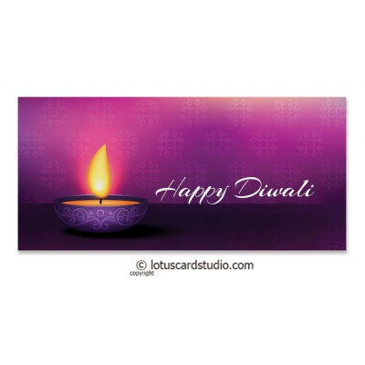 Front view of Diwali Money Envelope in Purple with Diya