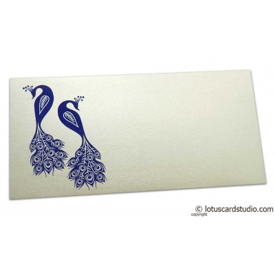 Front view of Money Envelope in Ivory Pearl with Blue Peacocks