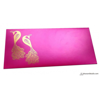 Front view of Money Envelope in Mexican Pink with Golden Peacocks