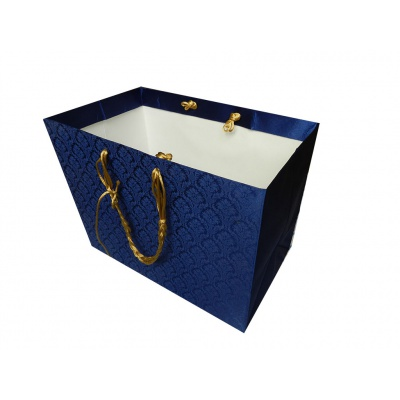 Blue Satin Gift Bag with Golden Silk Rope Handle - Image2