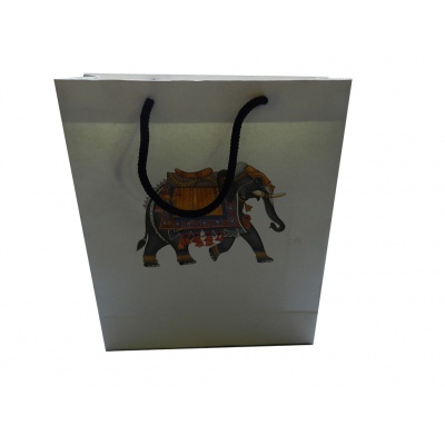 White Gift Bag with Elephant - Image1