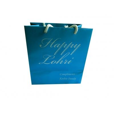 Gift Bag in Shimmer Finish Cyan Color - Image3