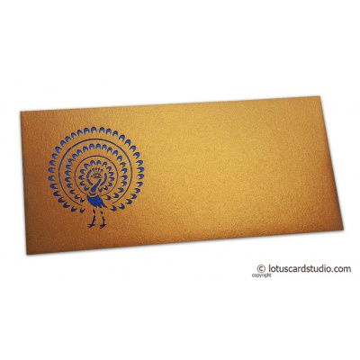 Front view of Gift Envelope in Pure Gold with Laser Cut Peacock