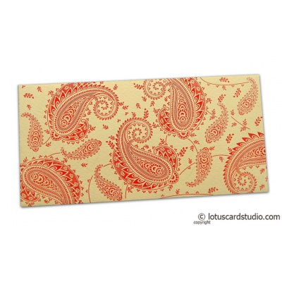Front view of Gift Money Envelope in Bright Beige with Red Paisley Design