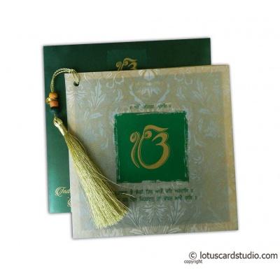 Glamorous Green Marriage Card with Beads Dori - WC_159