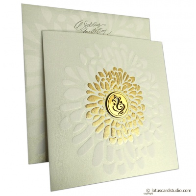 Gold Shine Ganesh Wedding Card - WC_146