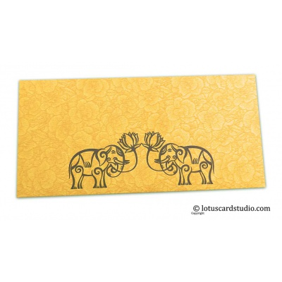 Front view of Golden Beige Flower Flocked Money Envelope with Grey Elephants