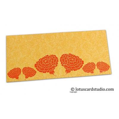 Front view of Golden Beige Flower Flocked Money Envelope with Orange Dahlia Flowers
