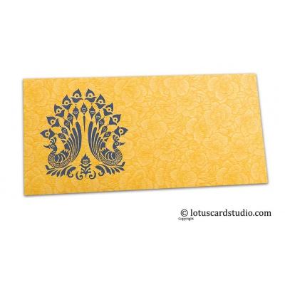 Front view of Golden Beige Flower Flocked Shagun Envelope with Blue Peacocks