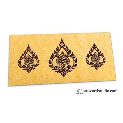 Front view of Golden Beige Flower Flocked Shagun Envelope with Brown Damasks