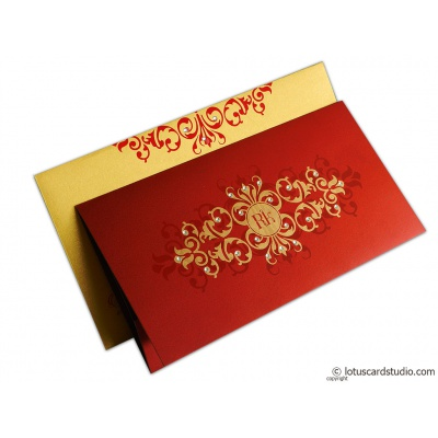 Golden Floral Wedding Invitation - WC_148