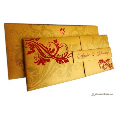 Golden Magnet Dazzling Wedding Invitation Card with Red Florals - WC_153