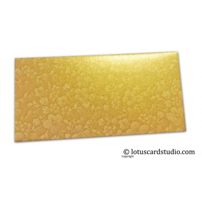Front view of Golden Shimmer Floral Shagun Envelope