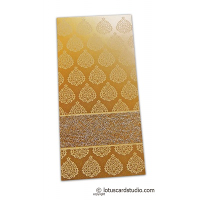 Front view of Golden Fibro Rich Shagun Envelope in Pure Gold