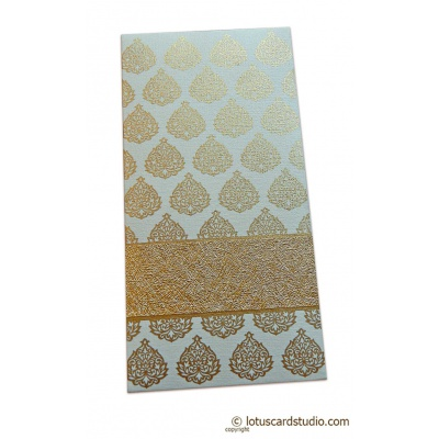 Front view of Golden Fibro Rich Shagun Envelope in Ivory