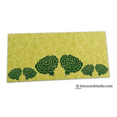 Front view of Green Flower Flocked Money Envelope with Dark Green Dahlia Flowers