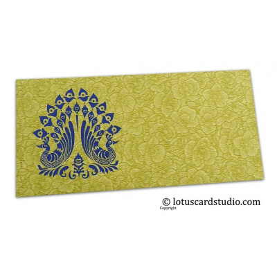 Front view of Green Flower Flocked Shagun Envelope with Blue Peacocks