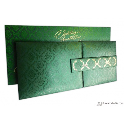 Green Magnet Dazzling Wedding Invitation Card - WC_151
