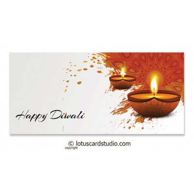 Front view of Happy Diwali Money Envelope with Lighting Diyas