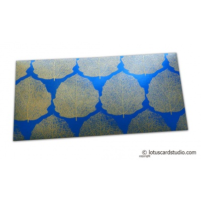 Front view of Imperial Blue Money Envelope with Raised Golden Leaves