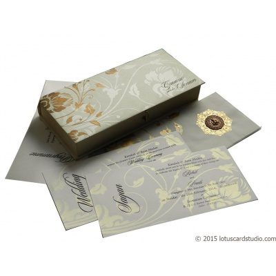 Indian Wedding Card in Royal White Golden Theme Box - WC_94