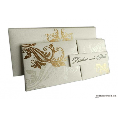 Ivory Magnetic Dazzling Wedding Invitation with Golden Flower Design - WC_13