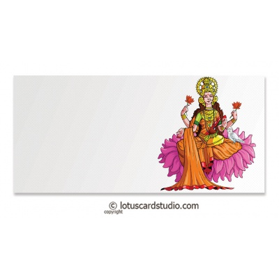 Front view of Ivory Money Envelope with Lakshmi Ji and Owl