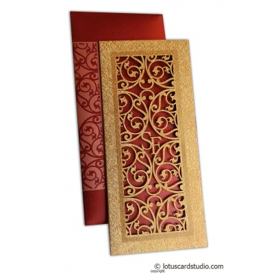 Laser Cut Wedding Card in Royal Red - WC_56