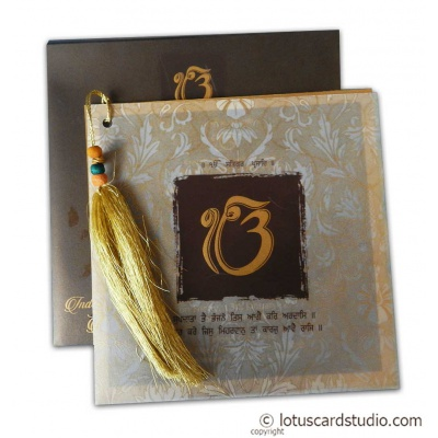 Lavish Golden Brown Wedding Invitation with Beads Dori - WC_155